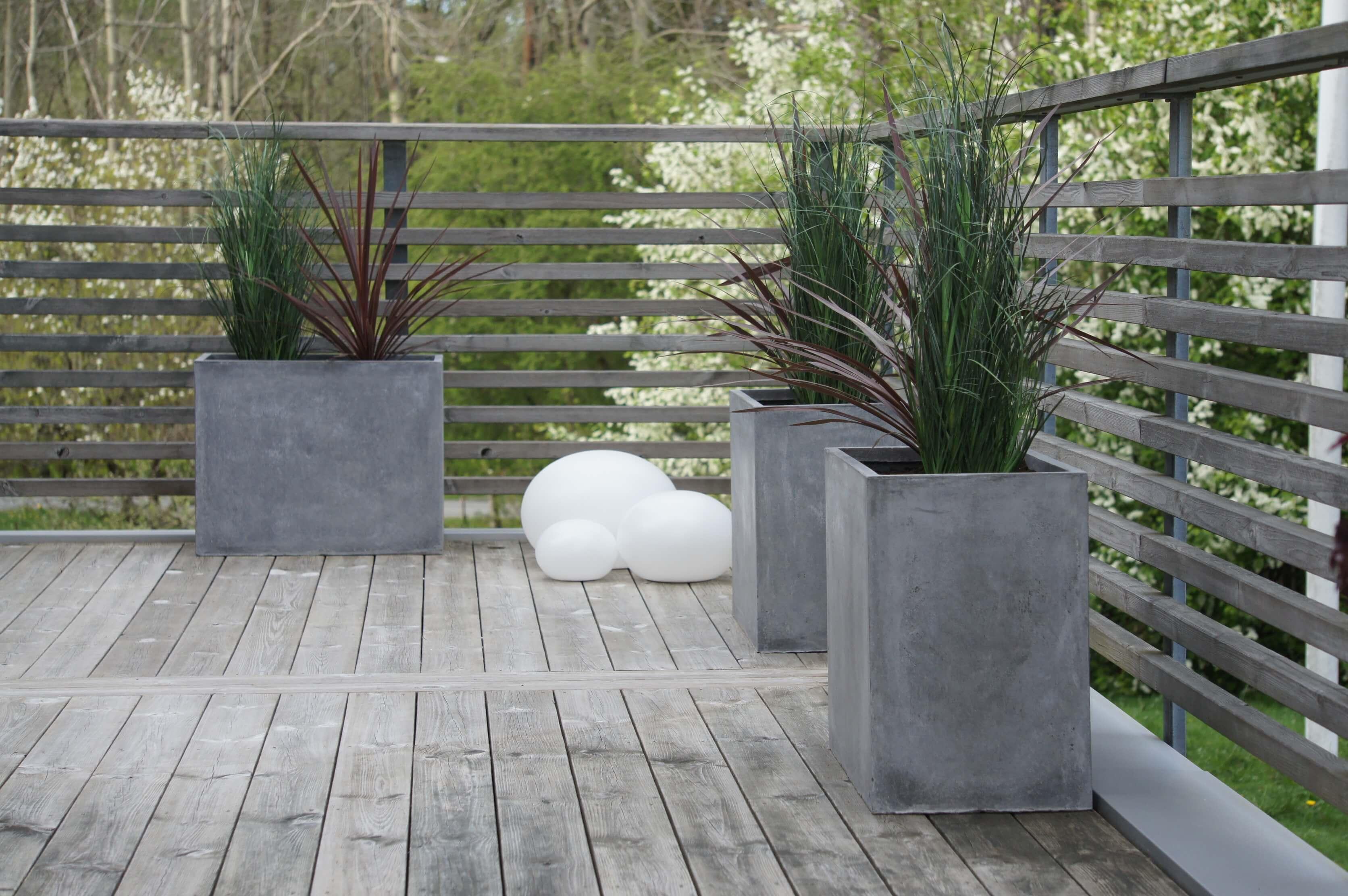 plantering, trädgård, altan, betong, blommor, plantagen, solcell